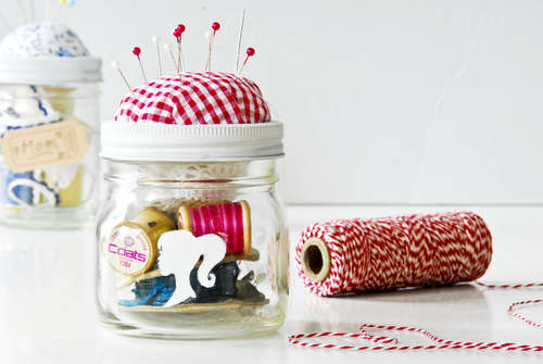 Sewing kit in a jar
