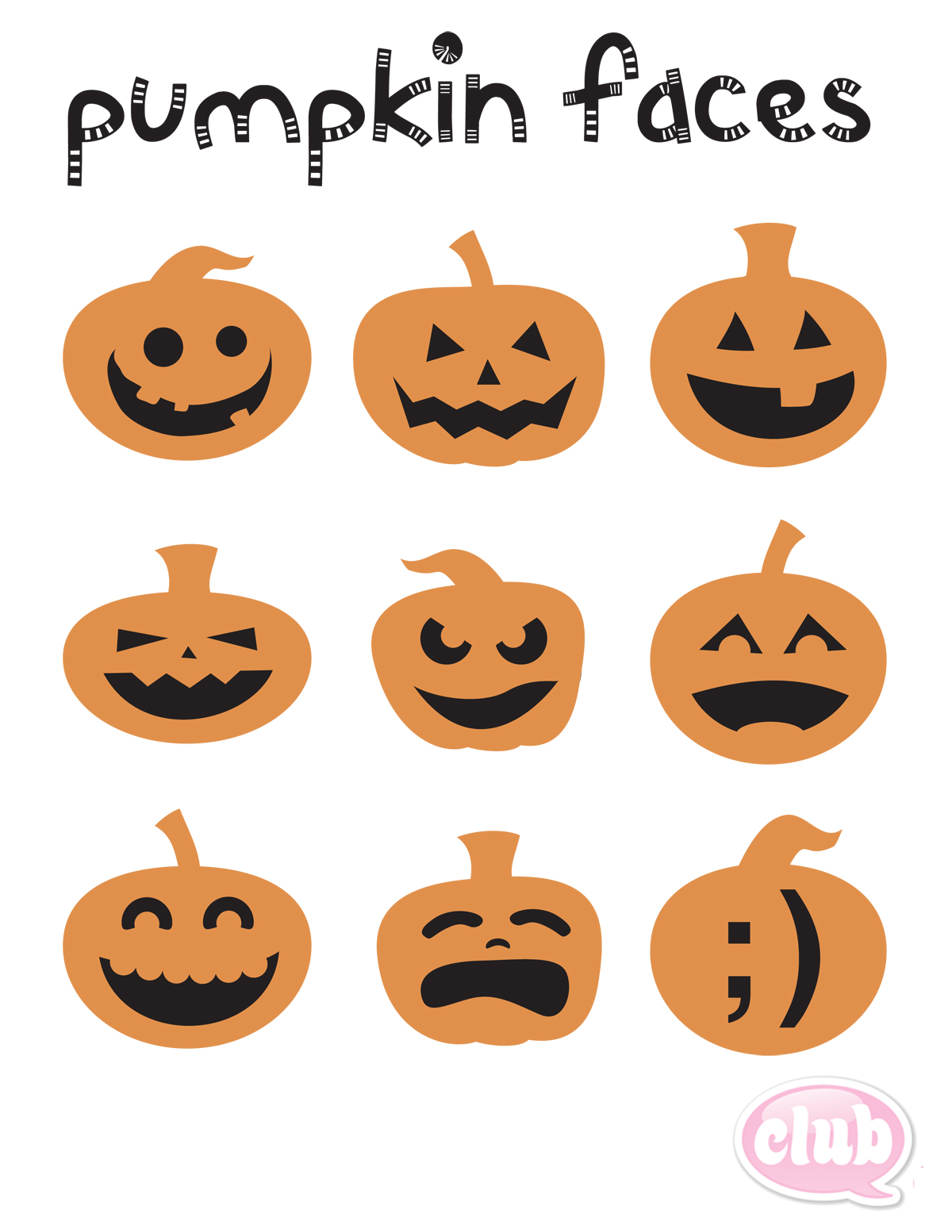 It's just a graphic of Comprehensive Pumpkin Faces Printable