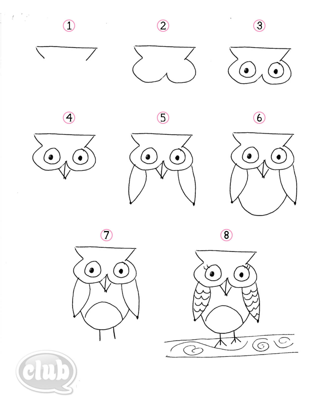 Draw Doodle Owl Colouring Pages
