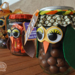 Owl candy jars side view