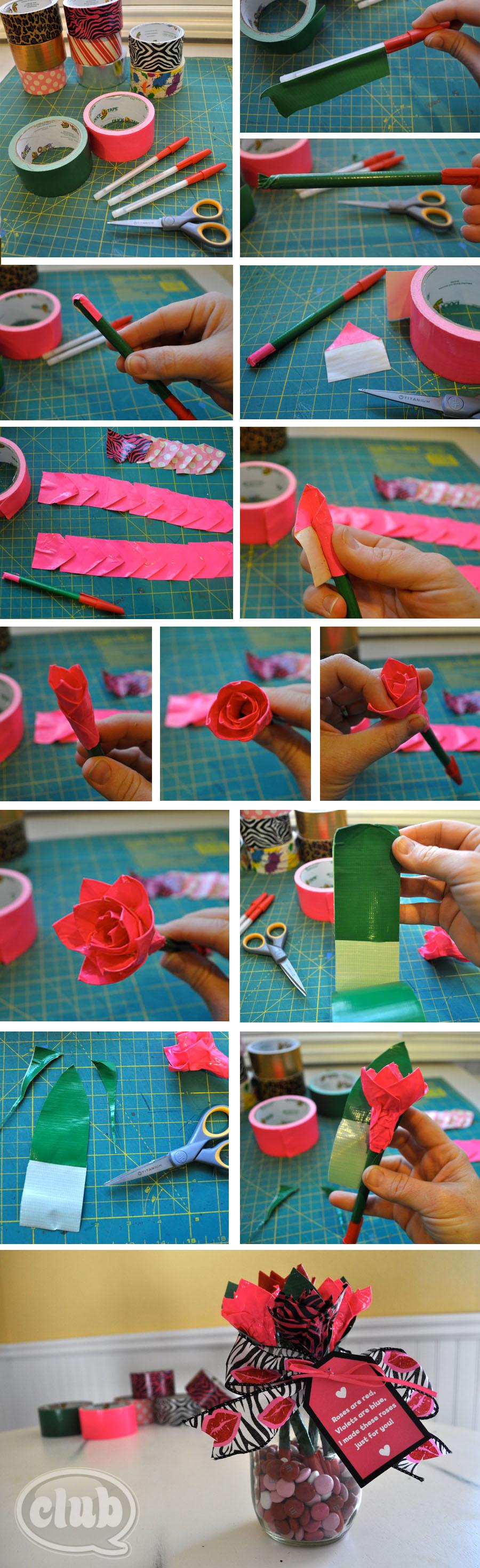 Duck Tape Pen Roses Steps