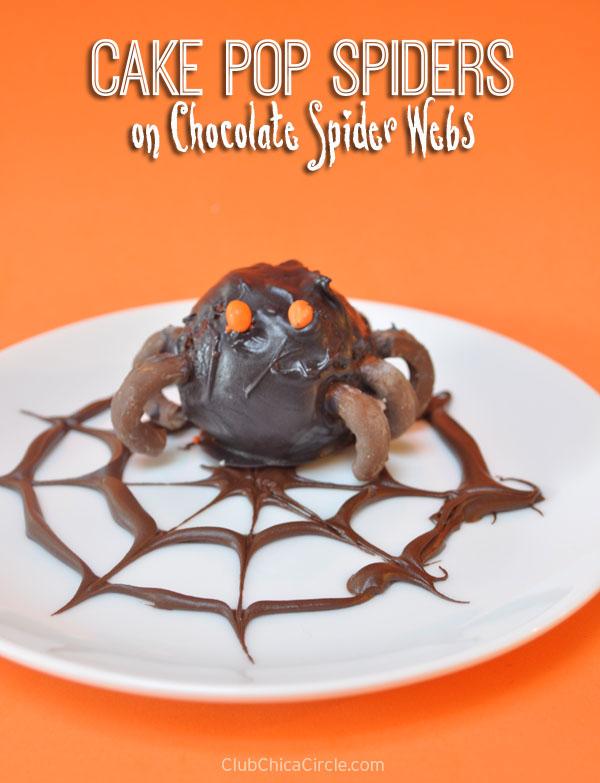 Cake Pop Spiders on Chocolate Spider web