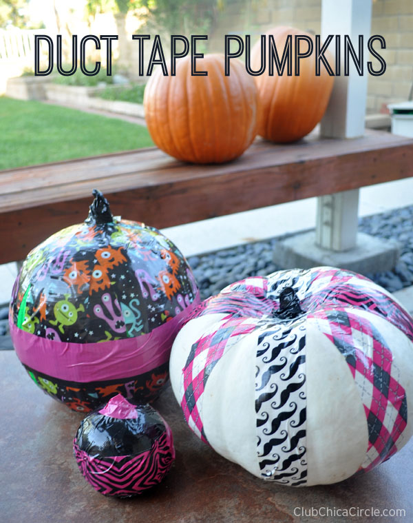 Duct Tape Decorated No Carve Pumpkins Craft