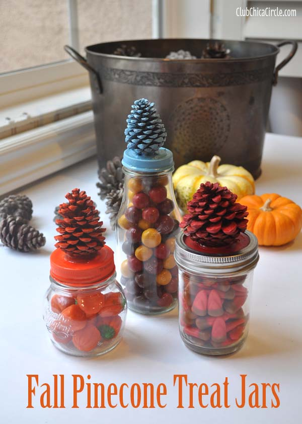 Fall Pinecone treat jars craft idea @clubchicacircle
