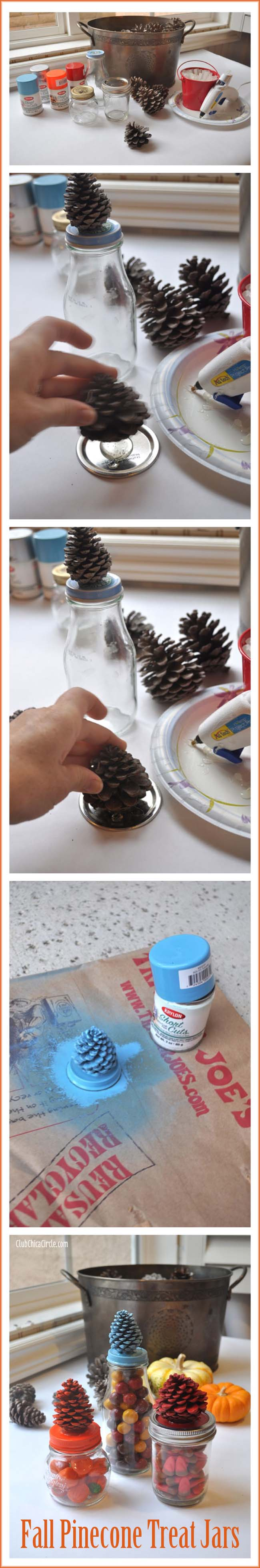 Pine Cone Treat Jars Fall Craft Idea