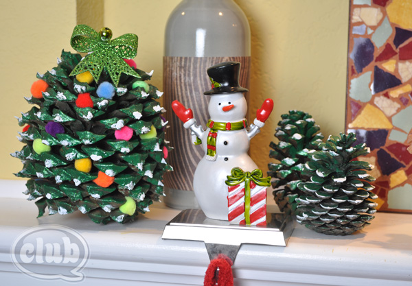 decorated pine cone tree craft @clubchicacircle