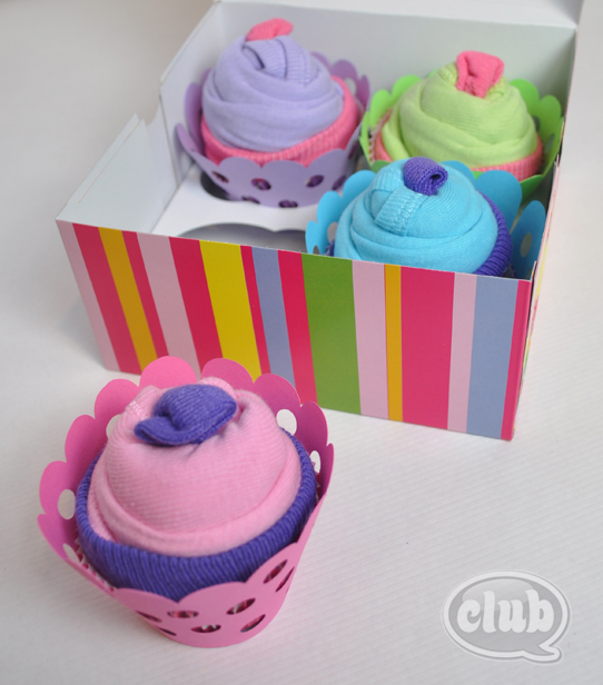 Colorful Cupcake Onesies gift box