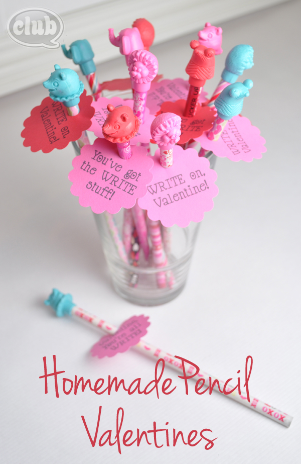 Homemade pencil valentines idea with printable