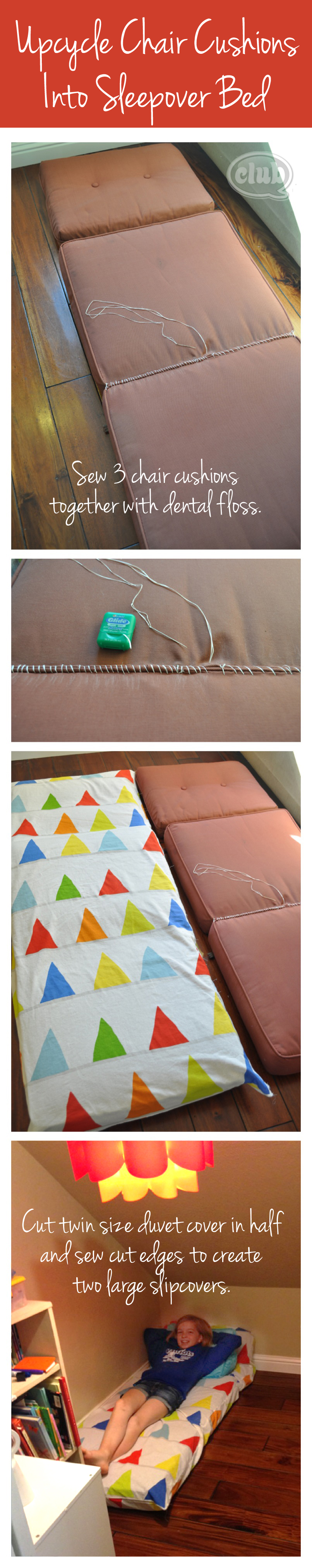 Reinventing Outdoor Cushions into Sleepover Mats