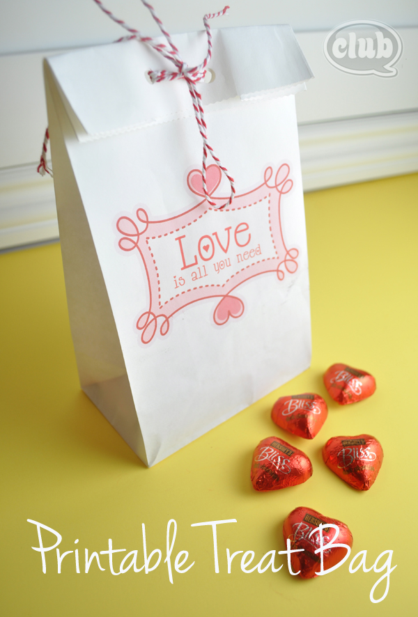 Valentines printable paper bag