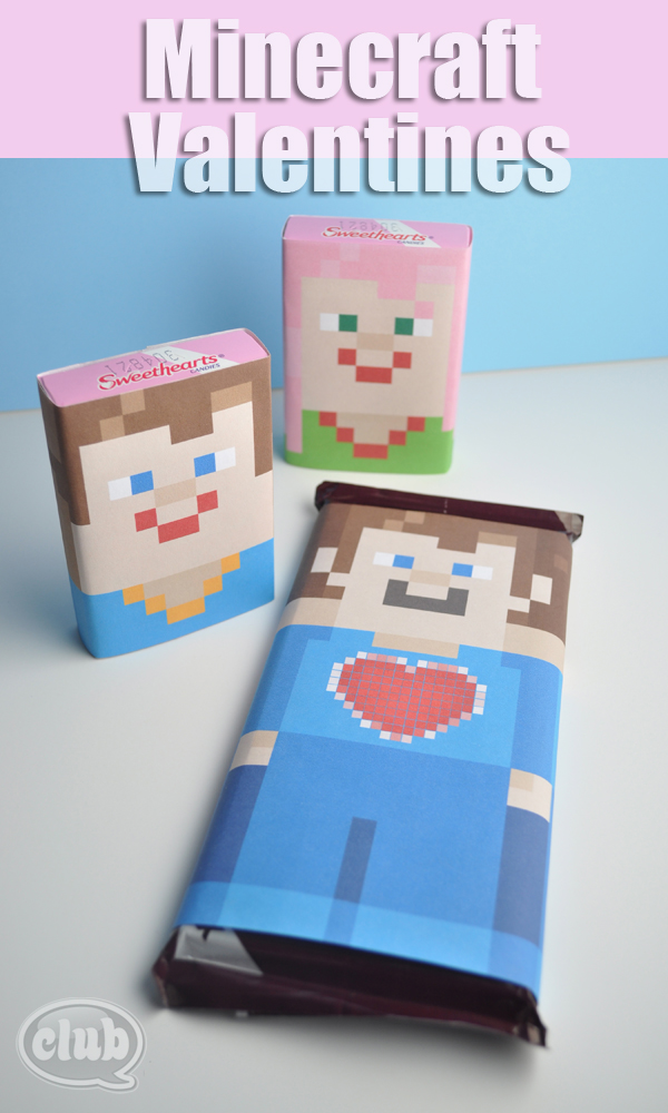 Minecraft sweetheart and hersheys candy printable wraps