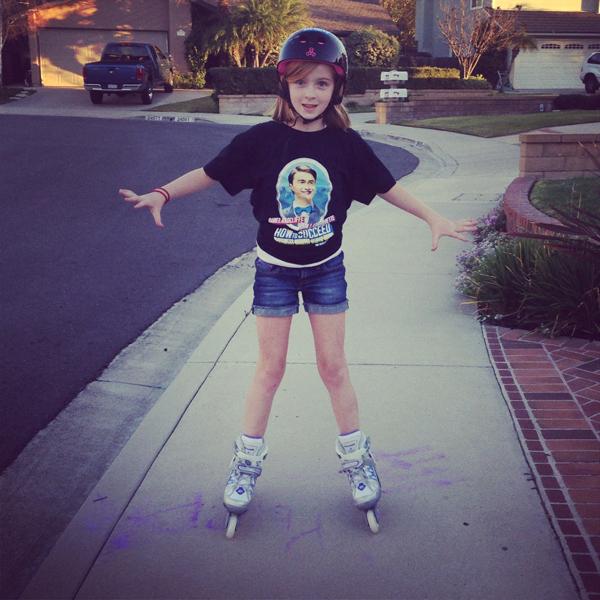 Roller blading tween girl