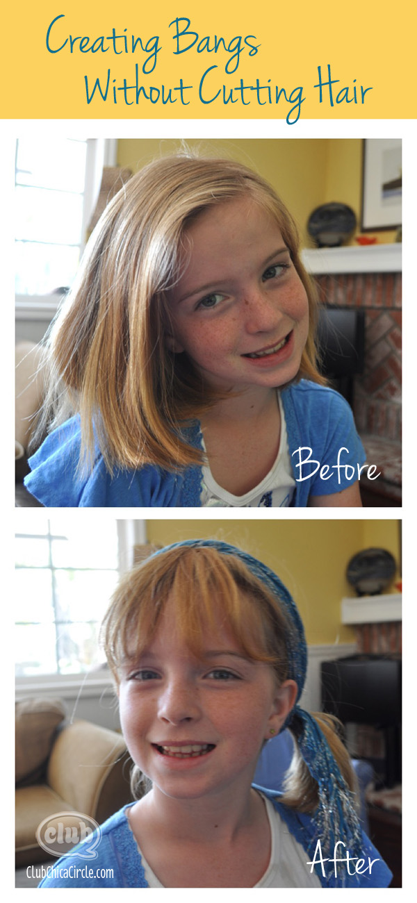 Creating Bangs without cutting hair trick before and after