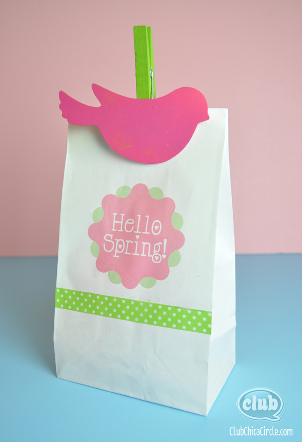 Hello Spring Paper Bag Printing with Bird craft