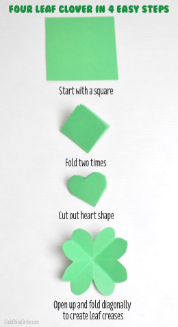 How to make a paper Four Leaf Clover in 4 steps