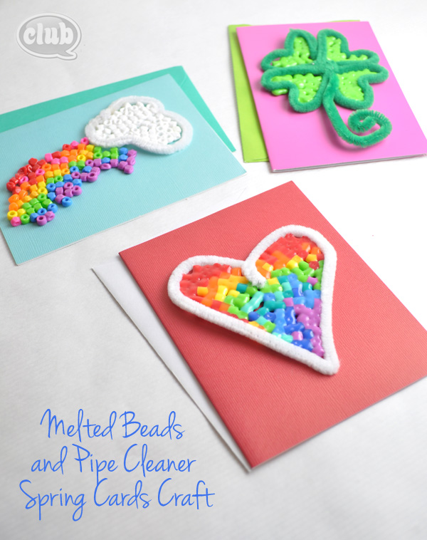 Melted Beads and Pipe Cleaner Spring Cards Craft