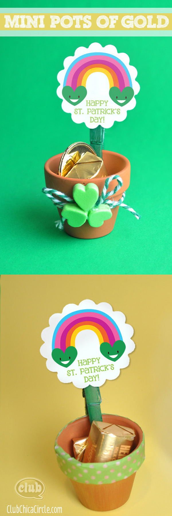 Mini Pot of Gold craft idea with Smiling Rainbow Printable @clubchicacircle 2