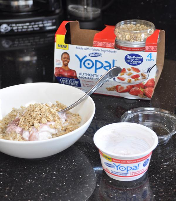 Yopa strawberry greek yogurt breakfast