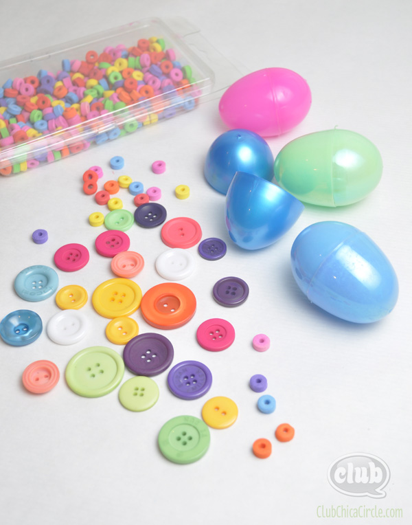 leftover plastic and button craft supplies