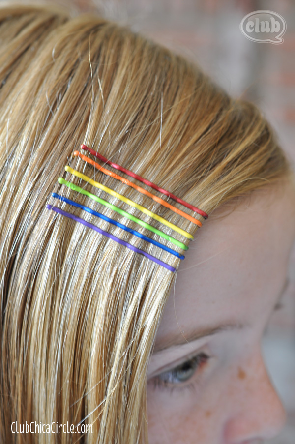 painted rainbow bobby pins closeup