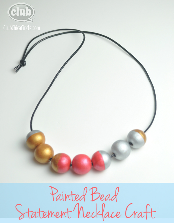 DIY painted bead necklace craft idea