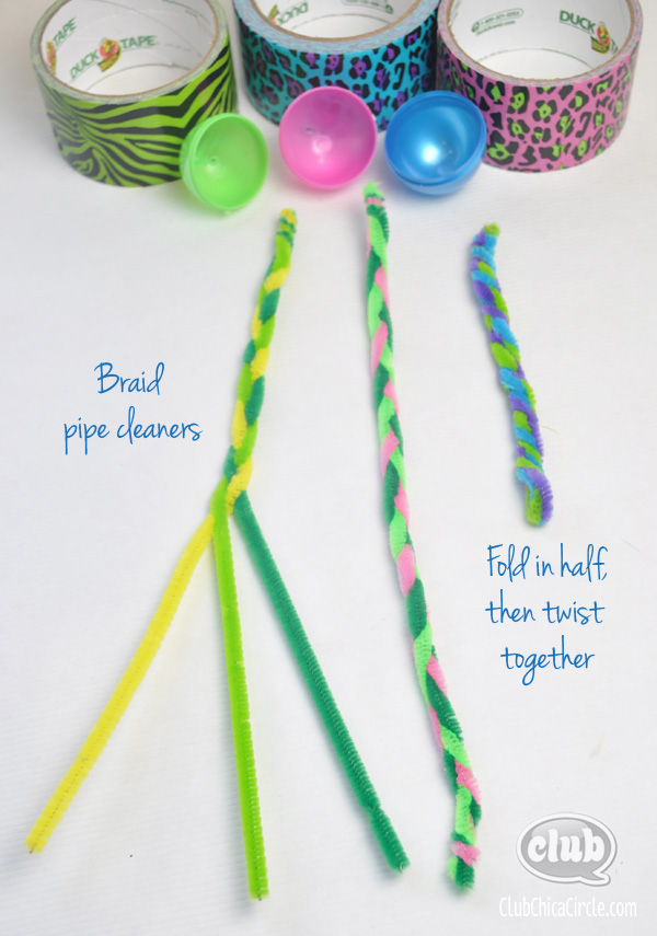 Duck tape egg flowers pipe cleaner steps