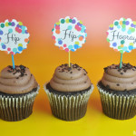 Hip Hip Hooray free cupcake printable