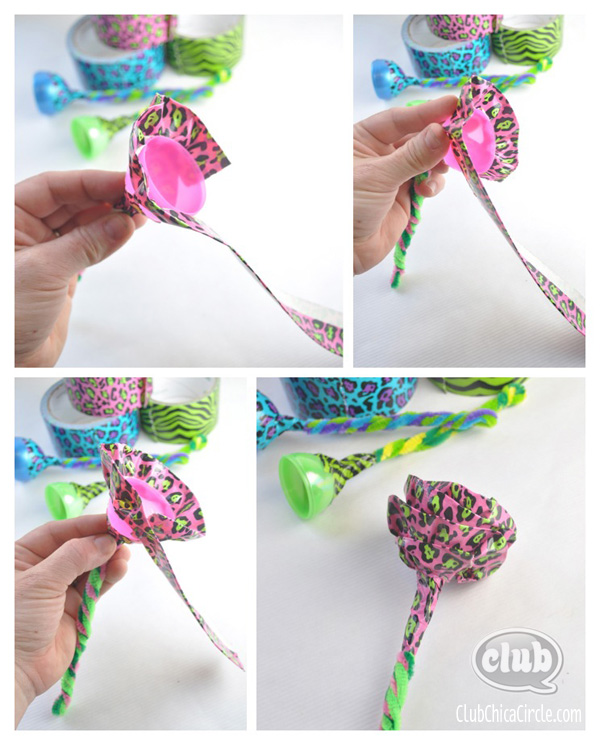 Plastic Egg Duck Tape Flower DIY @clubchicacircle