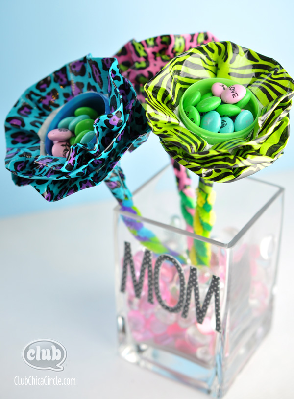 Plastic Egg Duck Tape Flowers Craft @clubchicacircle