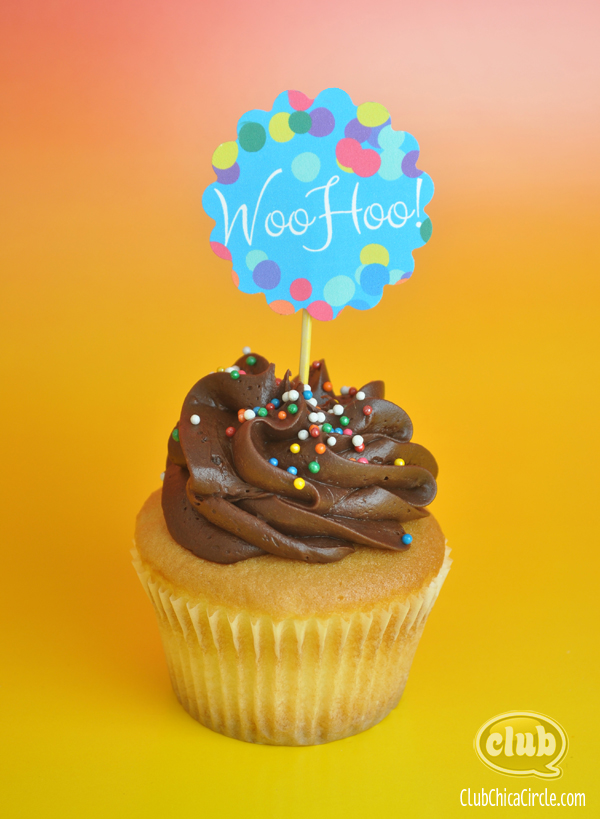 WooHoo cupcake topper printable