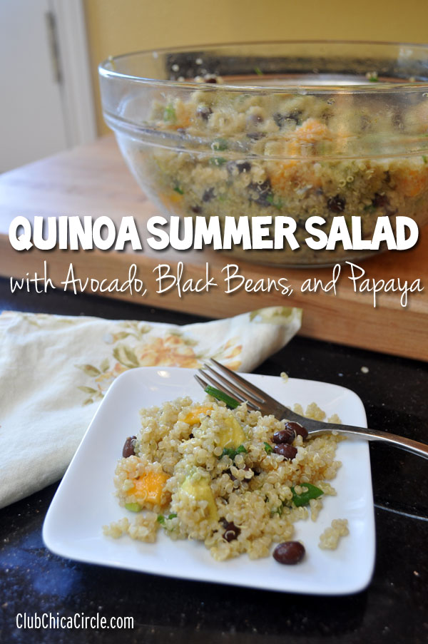 Quinoa Summer Salad with Avocado, Black Beans, and Papaya