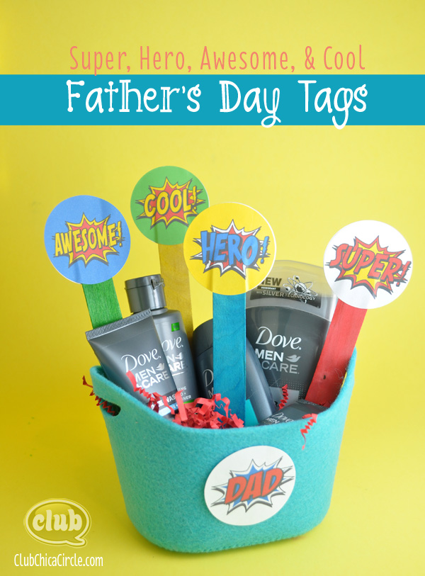 Super Dad Father's Day Printable tags @clubchicacircle
