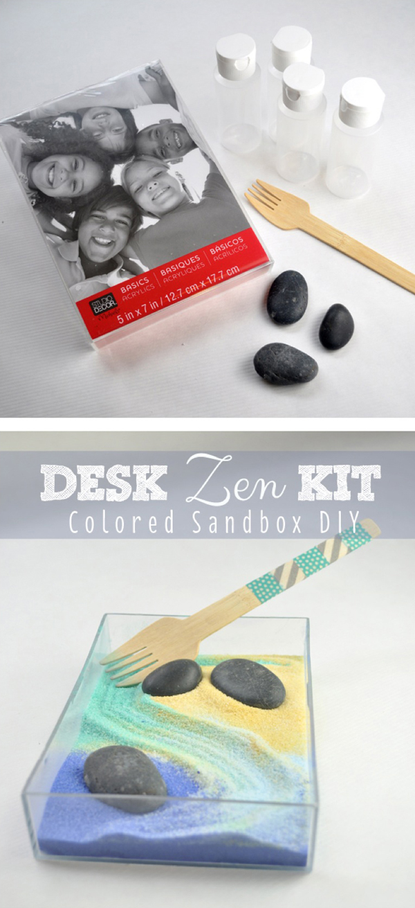 Desk Zen Kit Colored Sandbox DIY from clubchicacircle