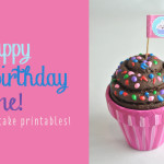 Happy Birthday cupcake flags free printable feature