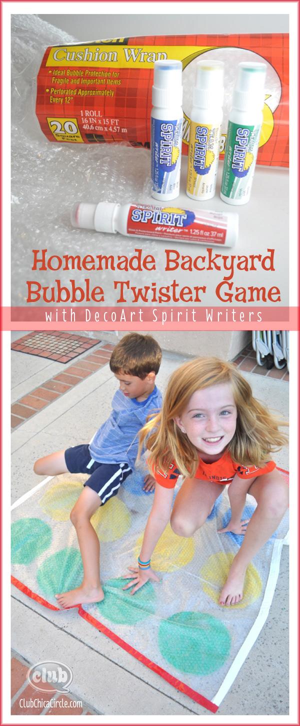 Homemade Backyard Bubble Twister Game with DecoArt Spirit Writers