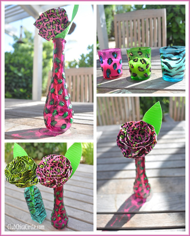 Animal Painted Print vases with DecoArt glass paint DIY