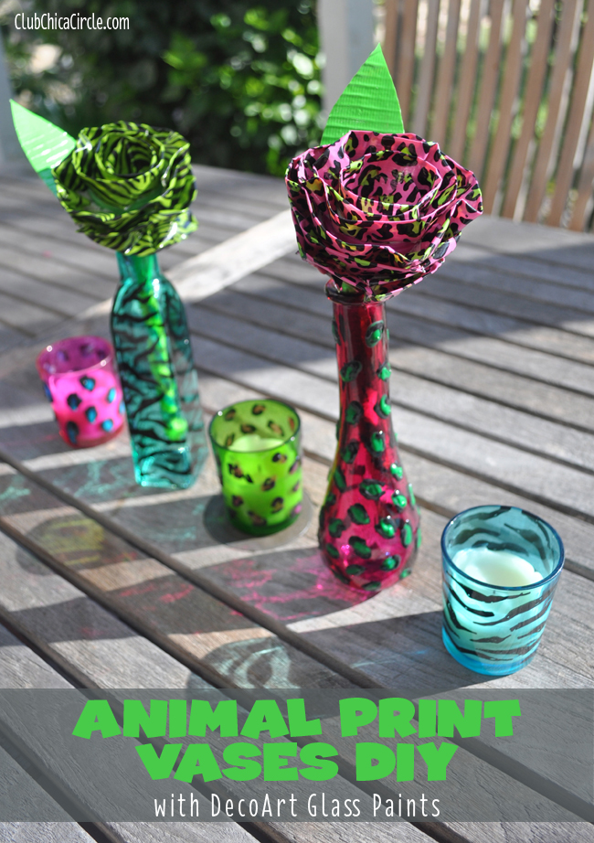 Animal print glass painted vases DIY