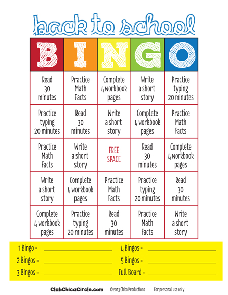 End+Of+School+Year+Worksheets Back to School Bingo For Kids Free ...
