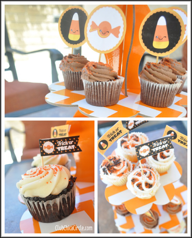 Halloween cupcake tower with free printables