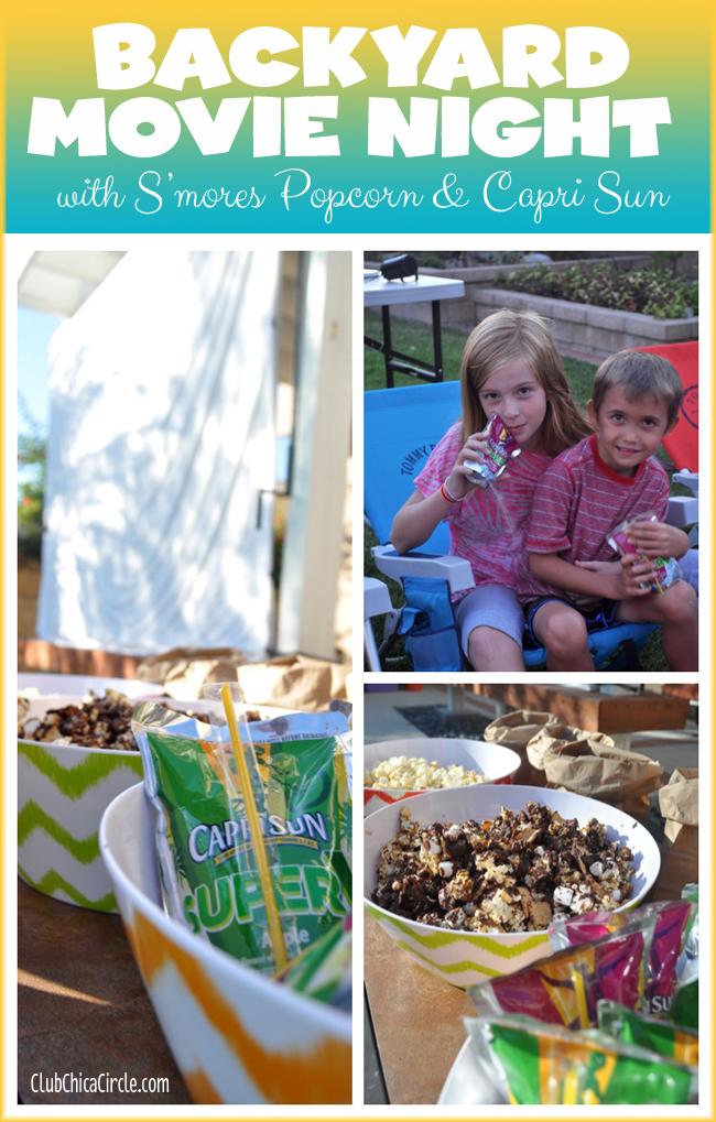 Hosting a backyard movie night with homemade smores popcorn and capri sun