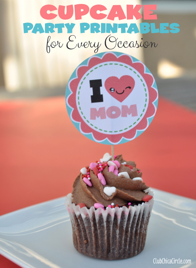 I heart mom free party cupcake printable