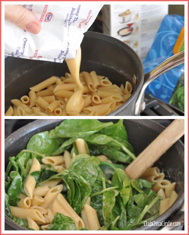 Kraft Recipe Makers Chicken Florentine prep