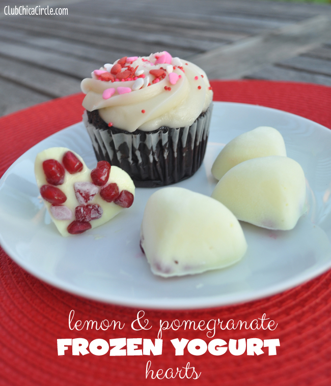 Lemon and pomegranate frozen yogurt hearts