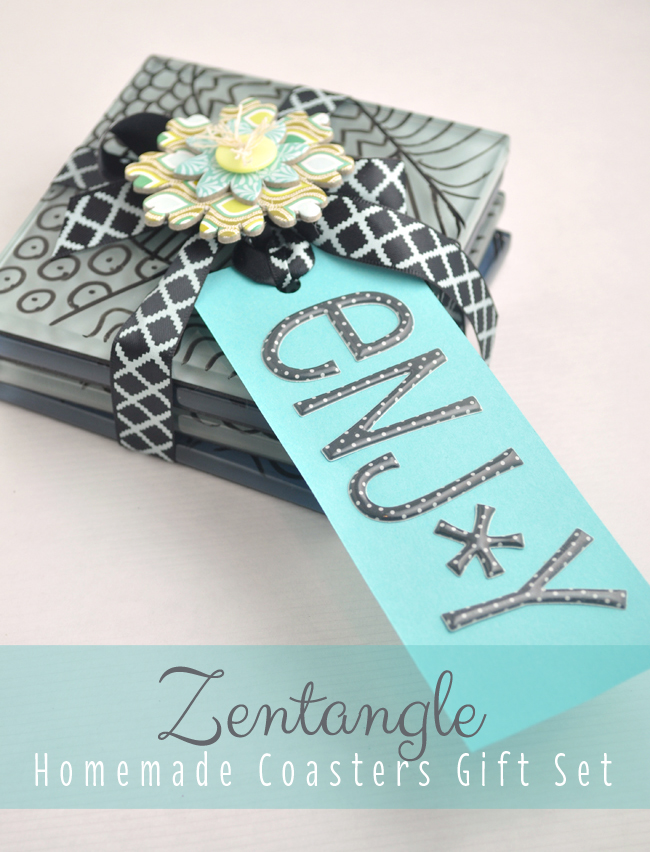 Zentangle homemade coasters gift set DIY
