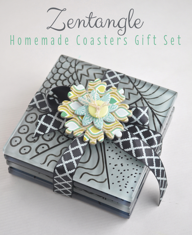Zentangle homemade coasters gift set tutorial