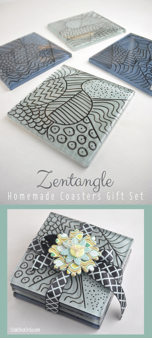 zentangle coasters gift idea DIY from clubchicacircle