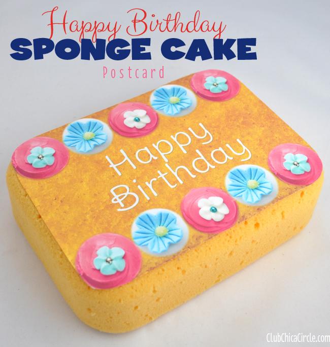 Birthday Sponge Cake Postcard Craft Idea