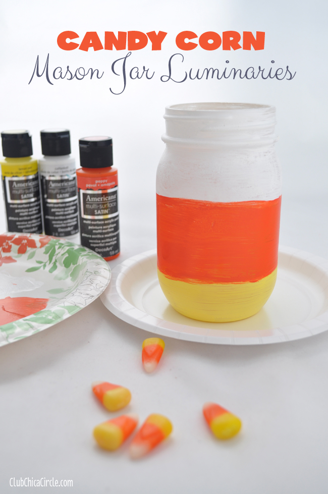 Candy Corn Mason Jar Luminaries DIY