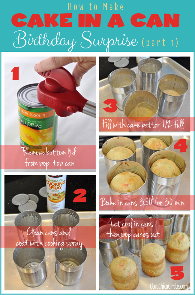 How to make cake in a can birthday surprise @clubchicacircle