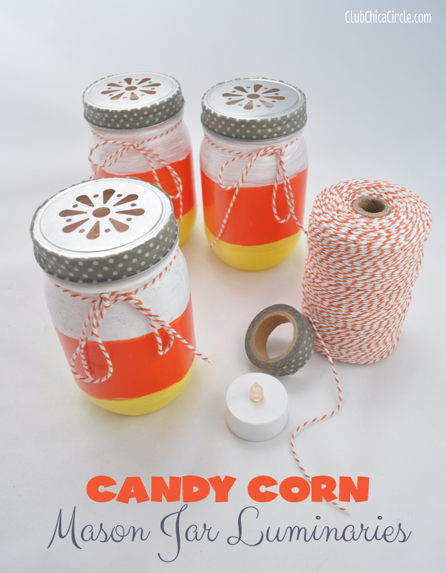 Mason Jar Candy Corn Painted Luminaries Craft @clubchicacircle
